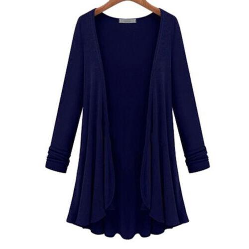 Damen Wasserfall Cardigan Strickjacken Lange Mantel Longshirt Langarm Jacke Coat