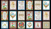 Mary Engelbreit Words To Live By Cotton Fabric Mottos Flowers Words Qt Panel