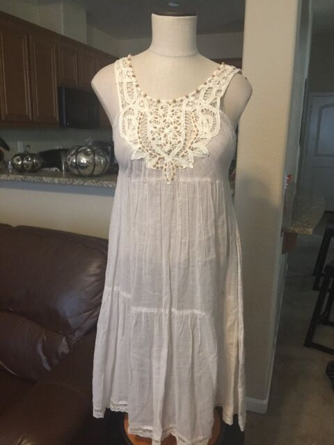 NWT Free People Ivory & Gold Striped Crocheted Tunic Dress Size 8 Back Tie