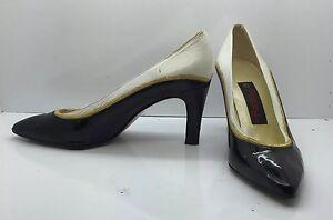 proxy vtg black white gold patent leather high heels pumps