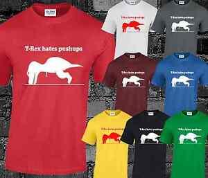 T Rex Hates Push Ups Mens T Shirt Funny Comedy Fitness Gym Geek Nerd Top