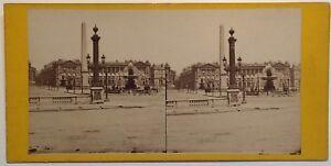 Parigi Place Da La Concorde Obelisk Foto Stereo Vintage Albumina