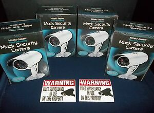 LOT HOME SECURITY FAKE SPY DUMMY CAM CCTV VIDEO CAMERAS+DECALS