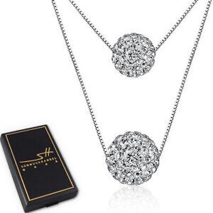 Doppel-Kugel-Halskette-925-Sterling-Silber-Damen-Swarovski-Kristalle-ETUI