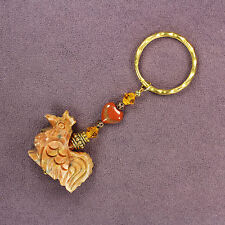 3D ROOSTER KEY CHAIN Ring Totem Soapstone Jasper Heart Chicken Hen Crystals Gold