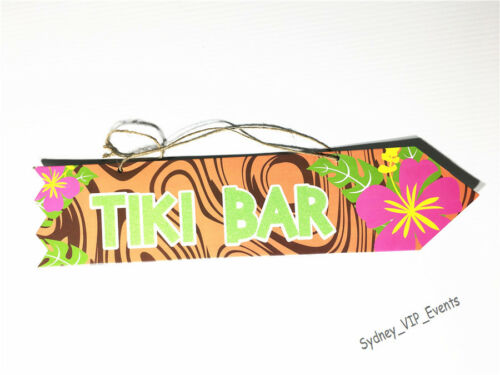 TIKI BAR PINK FLOWER TROPICAL PARTY BEACH COCKTAIL SIGN DECK POOL HAWAIIAN LUAU