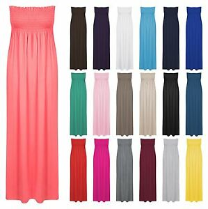 New-Womens-Plus-Size-Sheering-Gather-Boobtube-Bandeau-Long-Strapless-Maxi-Dress