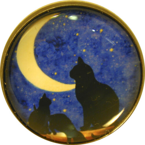 """1/"""" Crystal Low Dome Button of Cats and Crescent moon FREE US SHIPPING"""