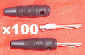 100 BANANA BUNCH PLUGS, 4 mm, black, 100 male connectors in unopened bags, RoHS
