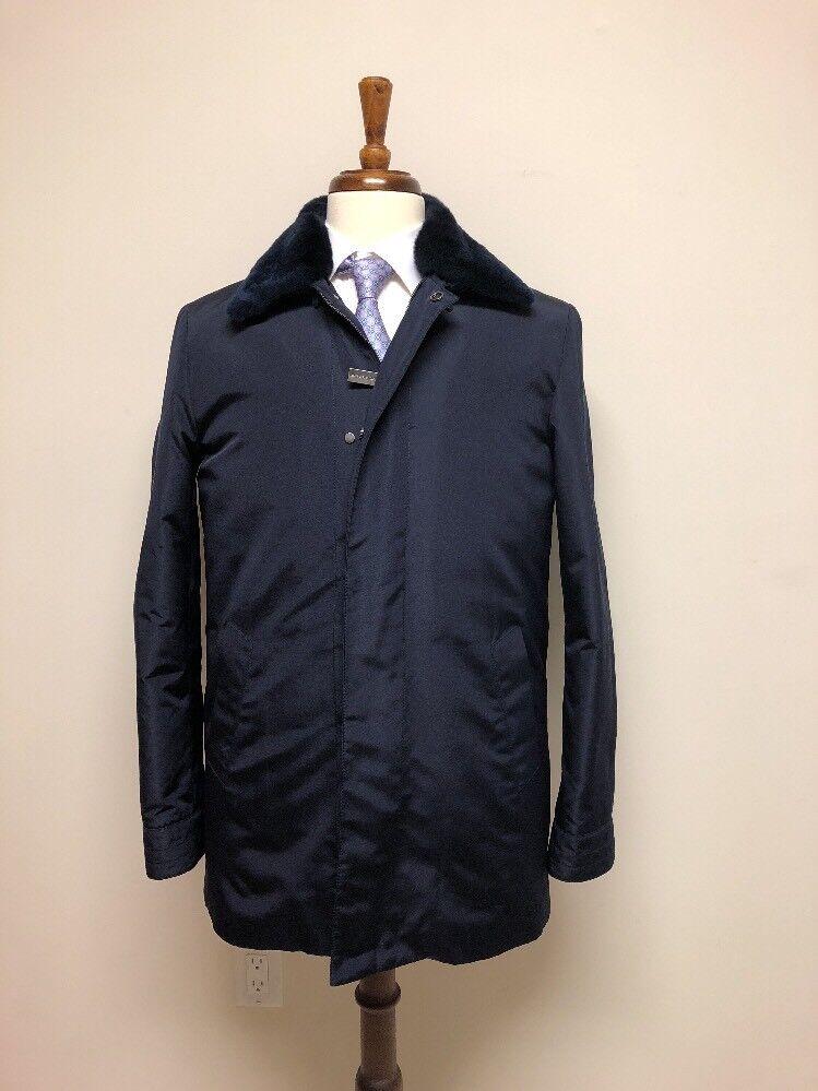 Hettabretz Fur Trimmed Water Resistant Silk Coat 38 US 48 IT
