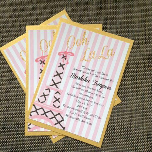 Pink and Gold Paris Theme Bridal Shower Invitation