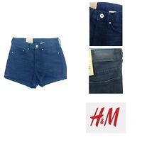 H&M Ladies High Waist Black Denim Shorts