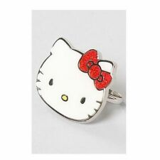 Hello Kitty Fancy Face Two 2 Finger adjustable ring white w/ red bow Sanrio New