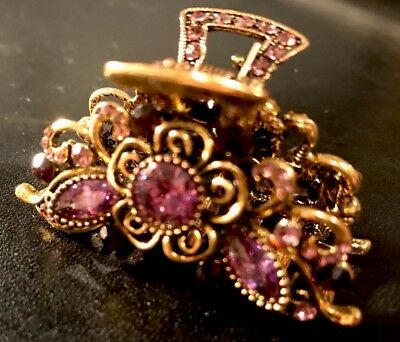 New Antique Gold With Amythst /& Crystal Floral 1 1//2/'/' Hair Claw Clip