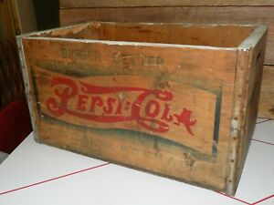 Vtg PEPSi COLA WoodeN CRATE DoubLe DoT 50s NicKel WorTh Dime SodaPOP BoX Case #2