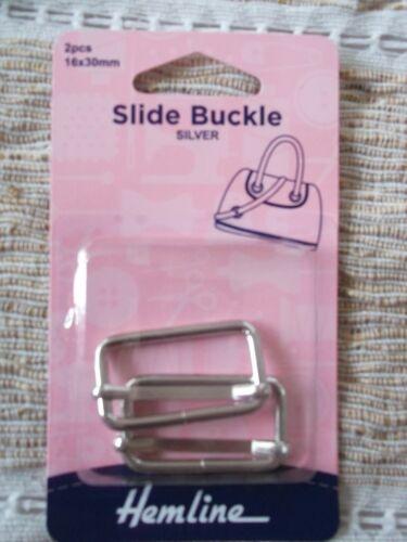 30mm X 16mm 3 COLOURS for Bags,tiebacks,belts,straps. HEMLINE SLIDE BUCKLE
