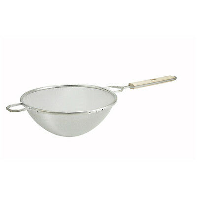 Winco MSTF-8S 8-Inch Single Tinned Mesh Fine Strainer with Wooden Handle