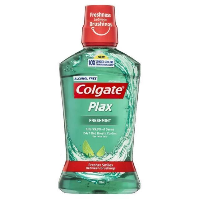 COLGATE PLAX FRESHMINT MOUTHWASH 500ML ALCOHOL FREE BAD BREATH CONTROL