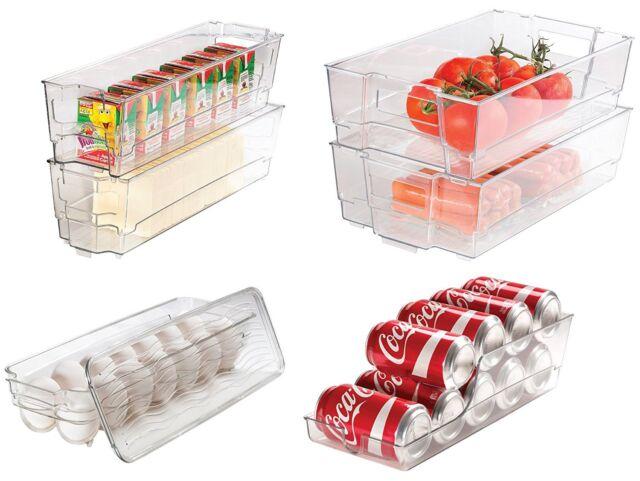 Greenco GRC0250 6 Piece Refrigerator and Freezer Stackable Storage Organizer Bins with Handles Clear