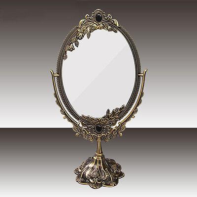 Vintage Rose Flower Beauty Makeup Cosmetic Mirror Metal Bronzer Stand Mirror L