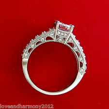 Real 14K solid White gold Vintage Style Round Brilliant cut Engagement Ring