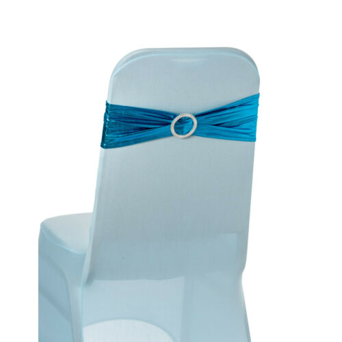 Shiny Chair Band Spandex Lycra With Plastic Buckle Banquet Wedding Chair Decor