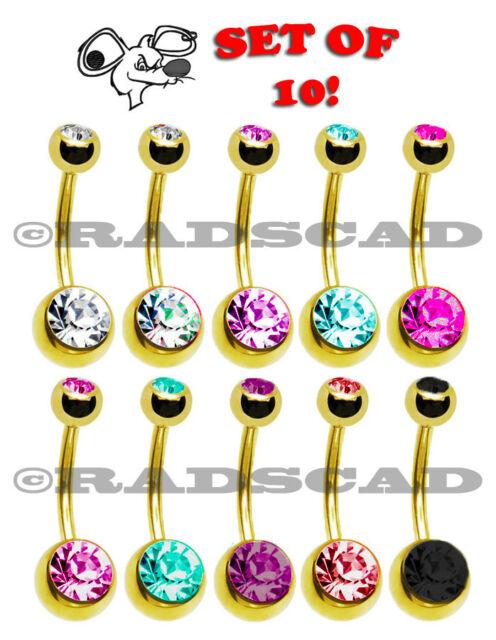 10 x BULK LOT CRYSTAL NAVEL BAR BELLY RING BODY PIERCING CLEAR GOLD BARBELL B24