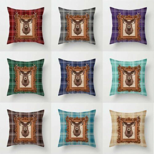 "Boom Pro 3D Digital Tartan Check Stag Cushion Covers 18/"" x 18/"" Decorative Pillow"