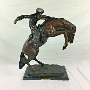 """WOOLY CHAPS Bronze Sculpture by Frederic Remington 23/"""" x 23/"""""""