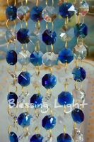 Blue And Clear - Lead Glass Crystal - Octagon Chandelier - Prisms Chains