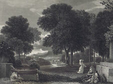 Landscape Traveler Washing Feet -Poussin- National Gallery 1836 Steel Engraving