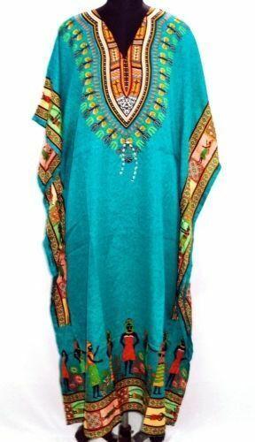 Hippie afrikanischen Kaftan Kleid frie Größe Frauen Strand vertuschen Maxi Kleid