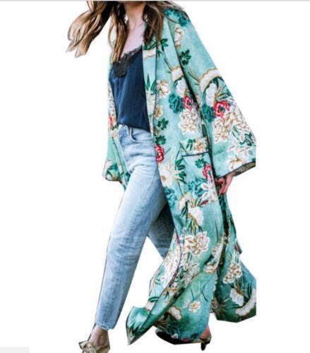 HOT Women/'s Bohemia Floral Tassel Long Kimono Oversize Shawl Maxi Tops Coat X314