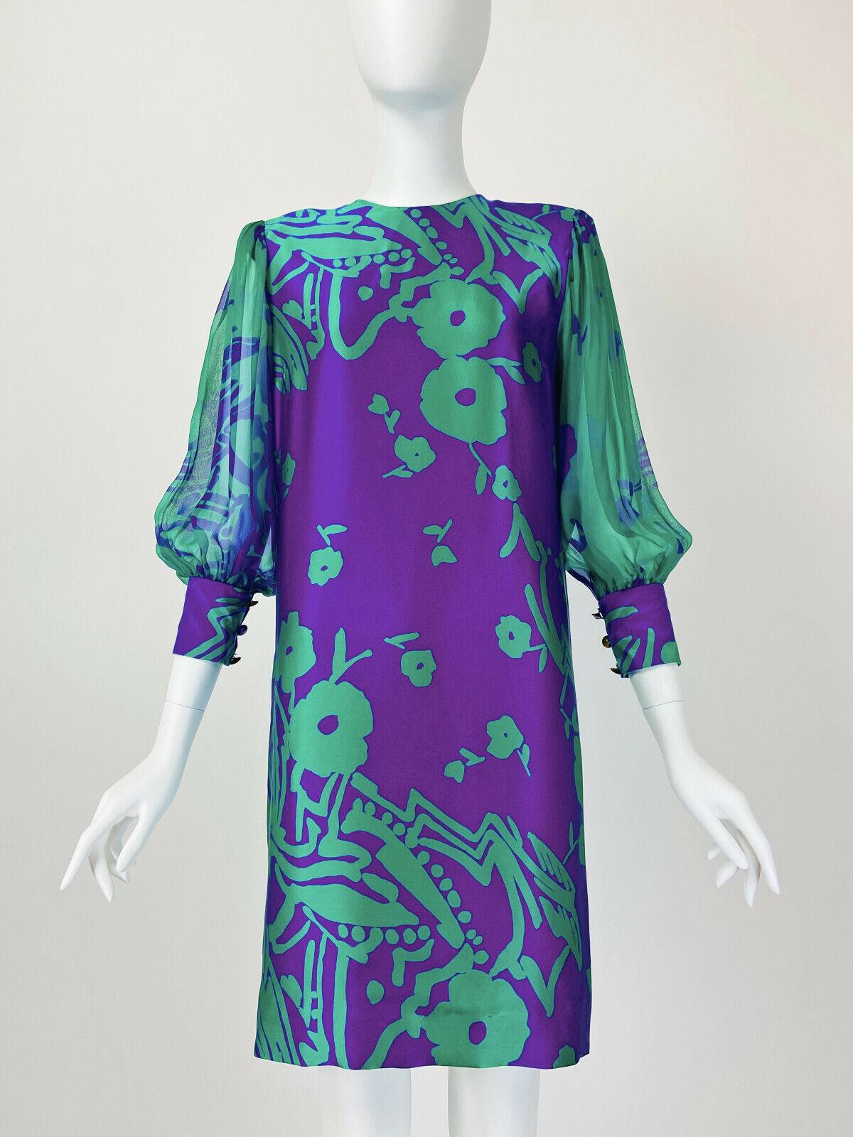 Designer Vintage 80s Silk Dress PAULINE TRIGERE S… - image 2