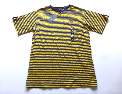 US Polo Assn Boys 10//12 14//16 18 Blue /& Yellow Striped Knit V Neck Shirt NWT