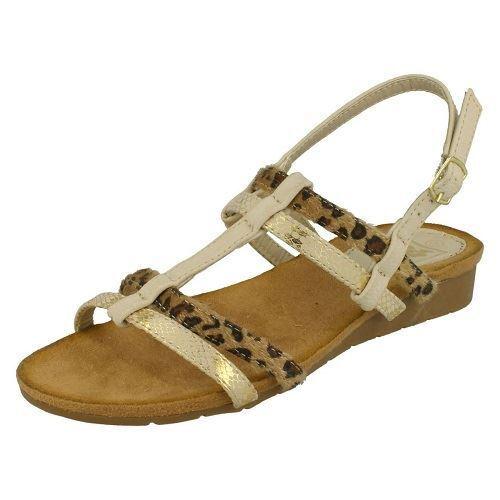 Down To Earth F10429 Ladies Beige Leopard Print Slingback Sandals