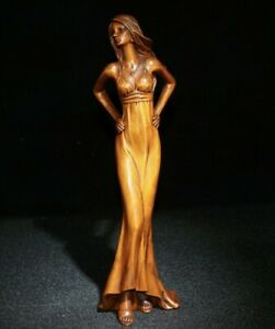 22.5cm noble decor natural Boxwood hand carved beauty belle Statue girl figurine