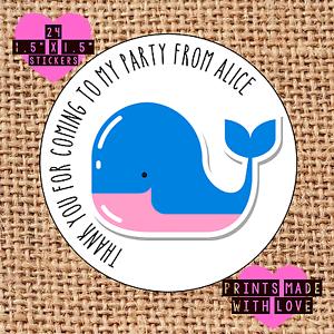 Sac fête autocollants personnalisé x24 whale 80s pop merci sweet cône étiquettes