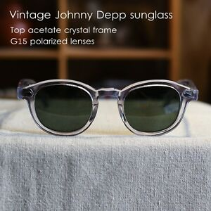 85bc5bab955 Image is loading Vintage-polarized-sunglasses-Johnny-Depp-eyeglasses -mens-crystal-