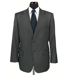 Jos A Bank Signature Gold Wool Suit Charcoal Gray w/gray Stripes Size 40S