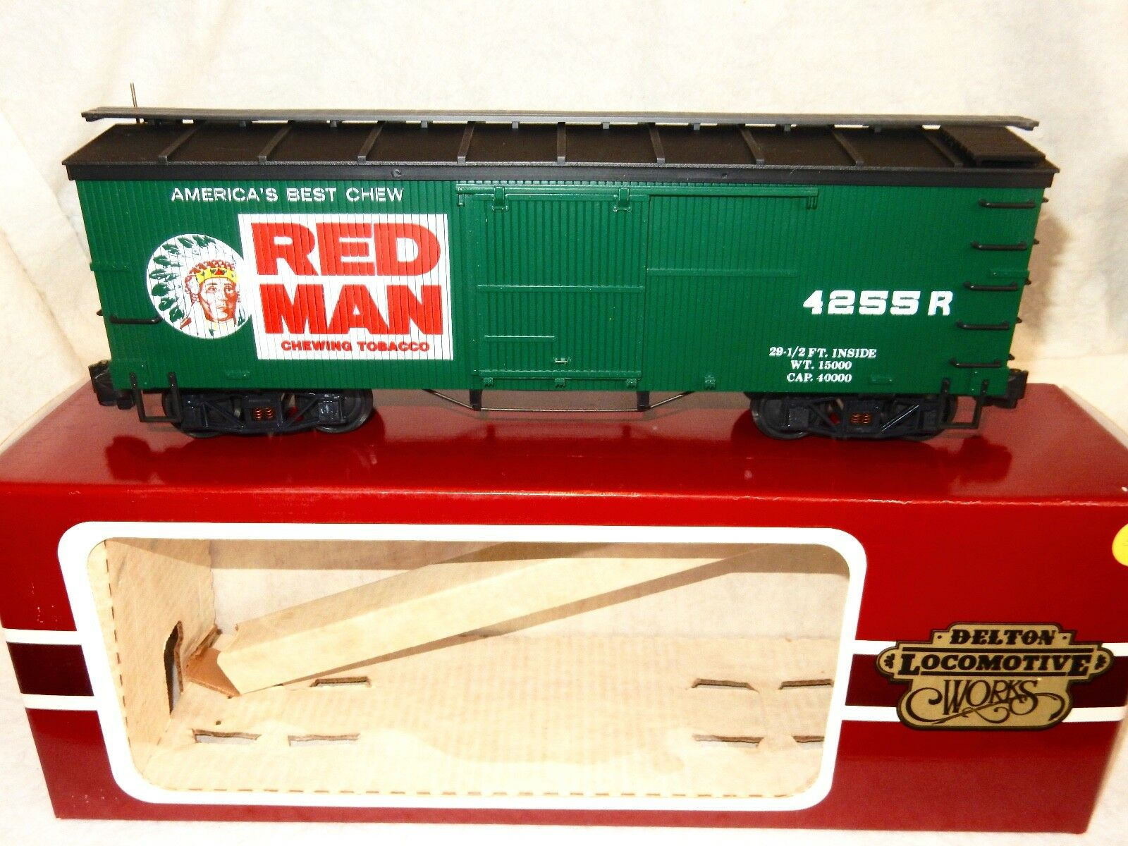 Delton Locomotive Works Red Man Tobacco Old Style Woodside Boxcar-ln w orig box