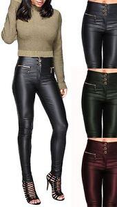 da5dbe1b72a4c Womens Shiny Wet Faux Leather PU High Waist Skinny Slim Jeans ...