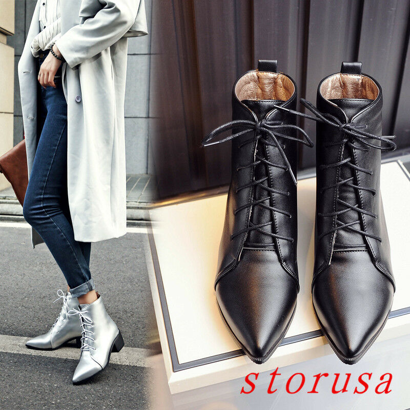Stylist Women Square Mid Heel Pointy Toe Lace Up Ankle Boots shoes Size 34- 47