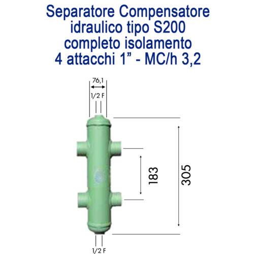 """SEPARATORE IDRAULICO 1/"""" COMPLETO DI ISOLAMENTO"""