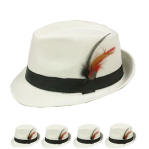 712c3c6946a Fedora Hat Wedding Dress Formal WHITE CAP MEN WOMEN FASHION WINTER ...