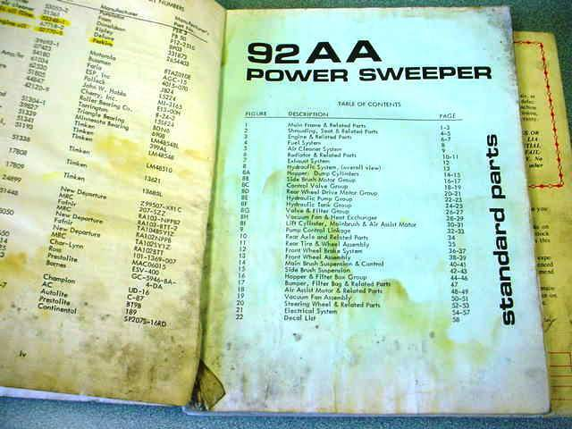 Power Sweeper 92AA  Power Sweeper Parts Manual  various sizes