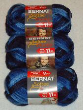 Bernat Softee Chunky Yarn Lot Of 3 Skeins (Denim Ombre #29119)