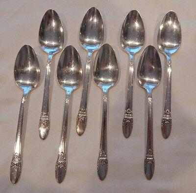 "1847 Rogers FIRST LOVE 8 Tea Spoons 6 1//8/""  Silverplate Flatware"
