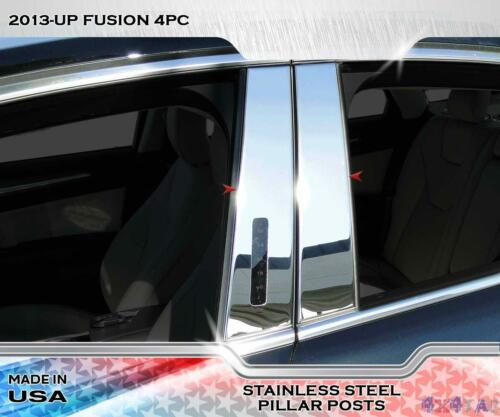 Stainless Steel Pillar Post Chrome Door Trim 4PC For Ford Fusion 2013-2015