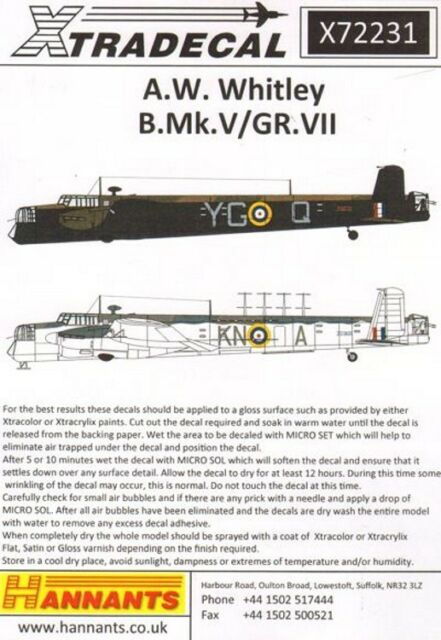 Nouveau Xtradecal X72231 1:72 Armstrong-Whitworth Whitley B. Mk. V/GR MK. VII